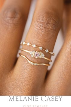 Oct 2 2019 - Petite Diamond Distance Band Sapphire Posy Ring Curved Wedding Band with Diamonds All in yellow gold with diamonds and an asscher cut pink sapphire Find all these delicate stacking rings and more at Stacked Wedding Bands, Stackable Wedding Bands, Curved Wedding Band, Wedding Band Sets, Stacking Rings, Double Wedding, Wedding Bands For Him, Emerald Cut Wedding Band, Gold Wedding Rings
