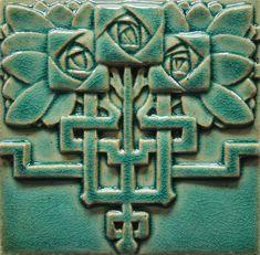 Three Roses Tile in Art Nouveau Style by Skiersch Studio - Contemporary Art Tile / Decorative Tile / Handmade Tile