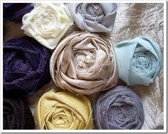 rolled fabric roses... easy peasy!   | from bridgebaxter.blogspot.com