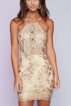 Halter Gold Thread Embroidered Hollow Out Backless Dress