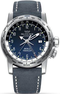 Glycine Watch Airman World Traveler #basel-15 #bezel-unidirectional…
