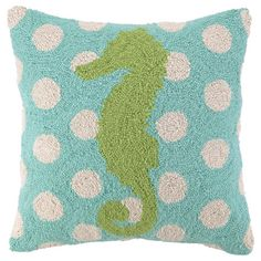 Bring a coastal touch to your loveseat, chaise, or bed with this hand-hooked wool pillow, featuring a charming seahorse motif against a polka-dot background....