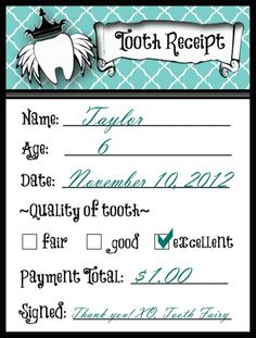 15 best tooth fairy images on pinterest tooth chart teeth and this is my favorite of all the receipts i found it fits perfectly in the fandeluxe Image collections