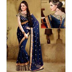 Poly Silk Machine Work Blue Saree - 1507C