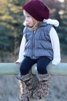 Hat + puffy vest + boots with fur <3...this would be super cute in my size too!
