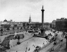 Foto antigua de Trafalgar square, Londres en 1905