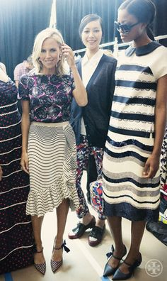 Tory Burch, backstage in polka-dotted pointy-toes