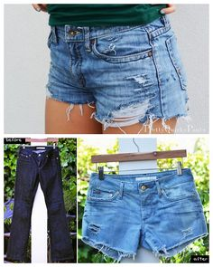 DIY 2 Distressed Cut Off Shorts Tutorials.