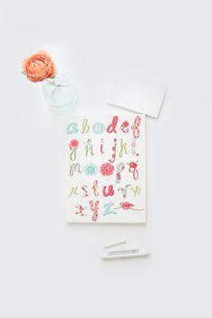 Alphabet printable learn the alphabetfloral by Papierscharmants Nursery Decor, Bedroom Decor, Alphabet Print, Learning The Alphabet, Kids Room, Printables, Unique Jewelry, Handmade Gifts, Floral