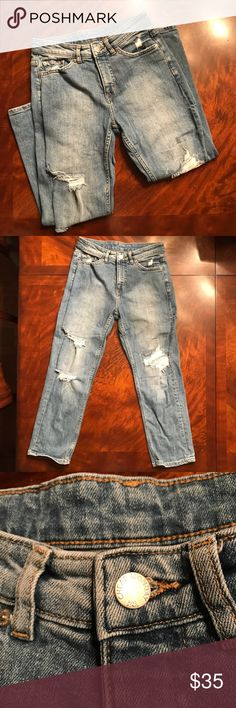 Awesome Cheap Monday distressed boyfriend jeans Purchased new at Nordstrom, these are high quality distressed jeans!! Inseam is 23 1/2 inches, rise is 9 inches.  My daughter loved the fit on these - she just grew out of them too fast! Washed cold and hung to dry, these are EUC. Cheap Monday Jeans Boyfriend