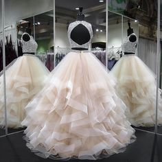 long prom dresses - Gergeous Crystal Beading Two Piece Tulle Prom Dress, Long Evening Dress Two Piece Quinceanera Dresses, Prom Dresses Two Piece, Cute Prom Dresses, Sweet 16 Dresses, Tulle Prom Dress, Ball Dresses, Pretty Dresses, Ball Gowns, Wedding Dresses