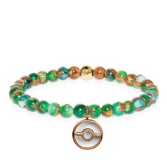 Rose Gold Poke Ball Charm | New Green Agate Bead Bracelet