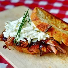 Pulled Pork Sandwiches with Apple BBQ Sauce and Fennel Apple Coleslaw