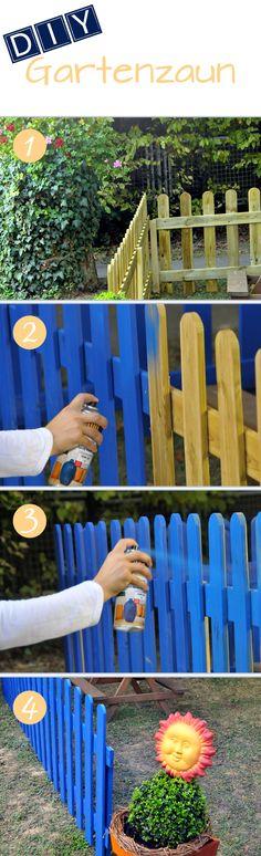 DIY Holzzaun: Der verwitterte Zaun ohne große Mühe mit belton Lackspray wie Neu. // DIY Wooden fence: The worn fence shines like brand new with belton spray paints.