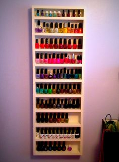 DIY nail polish shelf, creat however you want including Wood or any thing you don't use a lot and that can work.