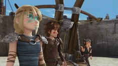 Astrid and Hiccup and Snotlout by the Sheep Launcher that Snotlout invented in Dawn of the Dragon Racers