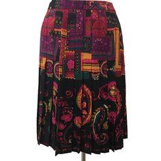 Carlisle Silk & Wool Pleated Skirt Black Multicolor Paisley Bold Print Size 14 #Carlisle #Pleated