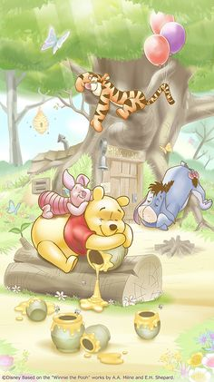 Winnie the Pooh uploaded by Naty on We Heart It Winnie The Pooh Cartoon, Winnie The Pooh Drawing, Winnie The Pooh Pictures, Tigger And Pooh, Cute Winnie The Pooh, Winne The Pooh, Disney Phone Wallpaper, Cartoon Wallpaper Iphone, Cute Cartoon Wallpapers