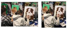 PAINT YOUR PETS. A student working on their Pet at our top quality paint classes at Winnipeg Art & Wine - Paint Your Pet Paint Your Pet, Wine Painting, Student Work, Pets, Top, Shirts, Student Jobs