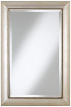"Jocelyn Silver Beading 36"" High Rectangular Wall Mirror -  Shelve idea for the jack n jill bath"