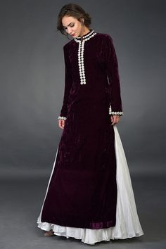 Dark Plum Pearl Beads & Swarovski Work Kurta with Skirt Designer Party Wear Dresses, Kurti Designs Party Wear, Indian Designer Outfits, Pakistani Fashion Casual, Pakistani Outfits, Indian Fashion, Pakistani Party Wear, Long Kurti With Skirt, Velvet Dress Designs
