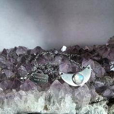 Rainbow Moonstone Crescent Moon Necklace - Diamonds and Coal Jewelry