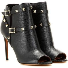 Valentino Rockstud Peep-Toe Ankle Boots ($1,180) ❤ liked on Polyvore featuring shoes, boots, ankle booties, black, short black boots, short boots, peeptoe booties, black bootie and peep toe bootie