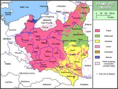 Ethno-linguistic map of the Second Polish Republic, 1937