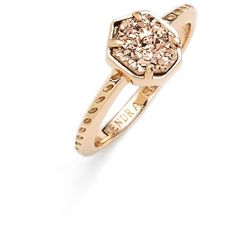 Kendra Scott 'Calvin' Drusy Ring ($65) ❤ liked on Polyvore featuring jewelry, rings, rose gold rose gold drusy, kendra scott, dot jewelry, stackers jewelry, 14 karat gold ring and polka dot jewelry