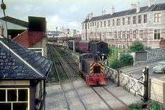 Shunter working railway in Millbay Docks and crossing Millbay Rd