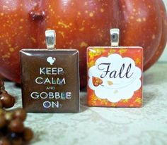 "Adorable harvest scrabble tile pendants! From our new set ""Happy Harvest."" - Mango and Lime Design."