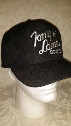 e68b8714e TONY LAMA Cowboy Boots Retro Adjustable Vintage Snapback Hat Cap Black White