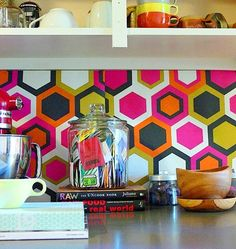 This graphic backsplash is actually just paper taped to the wall and was used as a temporary solution before a renovation. 15 Ideas for Removable, DIY Kitchen Backsplashes — Renters Solutions Backsplash Wallpaper, Kitchen Backsplash, Diy Kitchen, Kitchen Design, Kitchen Decor, Kitchen Ideas, Vinyl Backsplash, Easy Backsplash, Kitchen Board