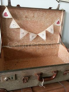 Suitcase wishing well with hessian bunting 'Cards' Card Box Wedding, Our Wedding, Hessian Bunting, Wishing Well, Autumn Wedding, Happily Ever After, Wedding Inspiration, Wedding Ideas, Centerpieces