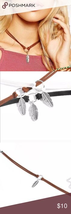 Free People Brown Suede Feather Choker Boho NWT Brand new double strap Choker with silver feather charm at center Free People Jewelry Necklaces