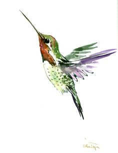 Hummingbird original watercolor paintign 12 X 9 in by ORIGINALONLY on Etsy