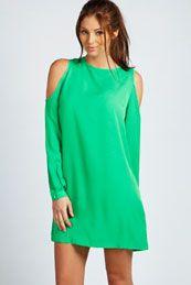 Jen Solid Colour Open Shoulder Shift Dress