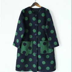 May Flower Winter and Spring Collection Thin Wool Blue and Green Dot... (€100) ❤ liked on Polyvore featuring outerwear, coats, dark olive, women's clothing, thin coat, polka dot coat, petite wool coats, olive green wool coat and wool coat