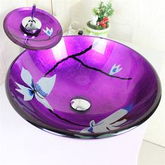 彩色上絵洗面ボウル&蛇口セット 洗面台 手洗い器 強化ガラス製 紫色 排水金具付