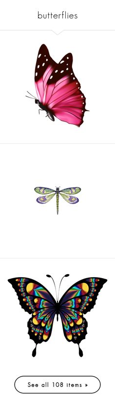 """""""butterflies"""" by callmerose ❤ liked on Polyvore featuring butterflies, filler, backgrounds, detail, embellishment, animals, dragonflies, wings, insects and home"""