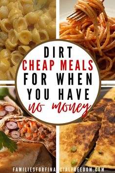 Check out these 40+ easy and cheap meals! Get cheap meals under $5! Find super quick and cheap meals for families or kids! Find recipes for cheap meals for dinner! Find 2 weeks of cheap dinner ideas for family meals! Cheap meals for college students! #dinner #easydinner #familydinner #cheapdinners #cheapmeals #meals #savemoney #money #family #save #frugal #budget #30minutemeals #mealprep #easymeals Cheap Dinner For 2, Cheap Meals For 2, Dirt Cheap Meals, Cheap Meal Plans, Cheap Dinners, Meals For The Week, Cheap Family Dinners, Super Cheap Meals, Cheap Food