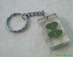 l .u .c .k .y   good luck  4 leaf clover key chain by AuntVestas