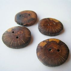 Handmade Wooden Buttons  White Oak 4 qty  7/8  15/16 by FieldHands, $8.00