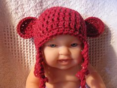 Crochet Korner Crochet Bear Hat Newborn to Adult by CrochetKorner, $15.00