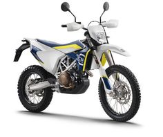 2016 Husqvarna 701 Enduro -- Following the recent release of the 701 Supermoto model, Husqvarna have announced an enduro version featuring the same large capacity SOHC single cylinder 690 cc engine, rated at 67 hp, with dual spark plug ignition, selectable engine maps including an A2 engine map that limits power, and a ride-by-wire throttle system. The engine sits in a chromium-molybdenum steel trellis frame with a 13-litre fuel tank that is integrated into the rear subframe.