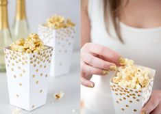 New Year's Eve/ Silvester DIY Ideas: Confetti popcorn box in white and gold Diy Party, Party Favors, Party Ideas, Deco Nouvel An, Silvester Diy, Pyjamas Party, Fancy Envelopes, Gold Party, Glitter Party