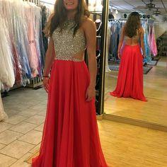 the beading work of this chiffon prom dress so glitter  65c430b77baf