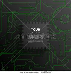Trendy 3D microchip design with transparent shadow and detailed printed circuit board background. vector stock eps 10 illustration