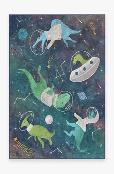 Dinosaurs in Space Rug – Ruggable Teal Rug, Pink Rug, Ideas Decoracion Salon, Constellations, Machine Washable Rugs, 8x10 Area Rugs, Natural Rug, Room Rugs, Colorful Rugs