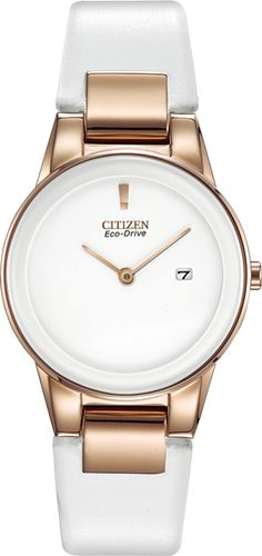 Citizen Eco-Drive Axiom Womens Rose-Tone White Leather Strap Watch - womens big face watches cheap, watches online for womens, womens digital watches Supernatural Style Stylish Watches, Luxury Watches, Cool Watches, Watches For Men, Cheap Watches, White Watches, Ladies Watches, Women's Watches, Citizen Eco